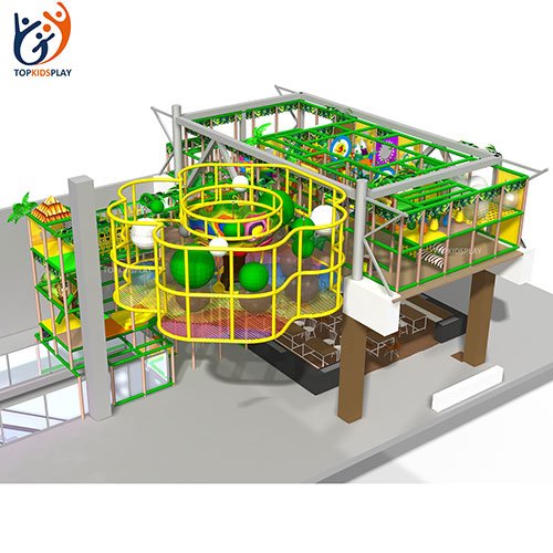 New design attractive kids indoor exercise crochet playground with rainbow climbing net